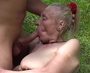 Chubby 85 years old granny very first time outdoor sex