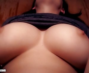 Bare Feet Pussy Fucking and huge MILF melons. Now that's a giant pair of underboobs! Britney Swallows' large natural tits get a nice workout while hubby pounds her clean shaven pussy.