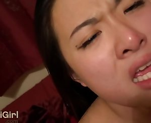 BLUE Eyes Asian Moaning for Creampie & THROATFUCKS his shaft WMAF