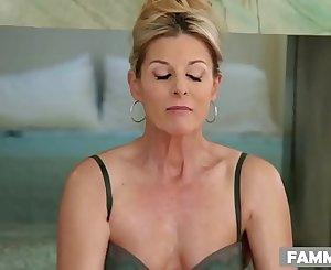 MILF massaging her step son