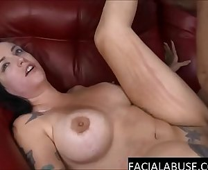 Tattooed deep-throaters endures rough facefucking & gets destroyed