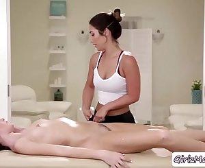Hot Eva gives an erotic massage to Scarlett