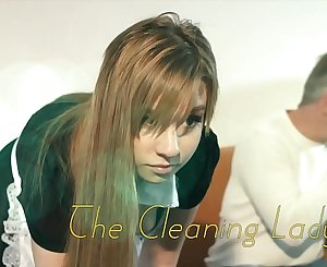 OMG My dad fucks youthfull cleaning lady after she seduces him with his tight pussy and sexy garb she deep-throats his cock and lets the daddy fuck her wet pussy hardcore on the couch