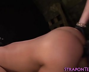 Fetish sub gags on cock