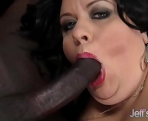 Fat nut with big tits takes black shaft