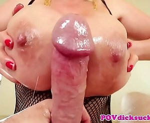 POV deepthroating asian mummy jizzed in mouth